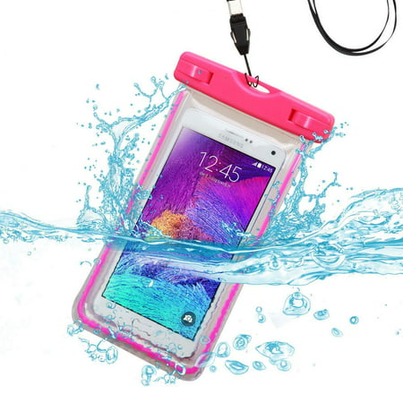 - Premium Waterproof Sports Swimming Waterproof Water Resistant Lightning Carrying Case Bag Pouch for Alcatel OneTouch POP Star 3G 4G(with Lanyard) (Hot Pink) + MYNETDEALS Mini Touch Screen Stylus