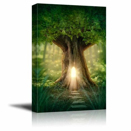 Photographic Fantasy Art - Canvas Prints Wall Art - Fantasy Tree House with Light in the Forest | Modern Wall Decor - 12