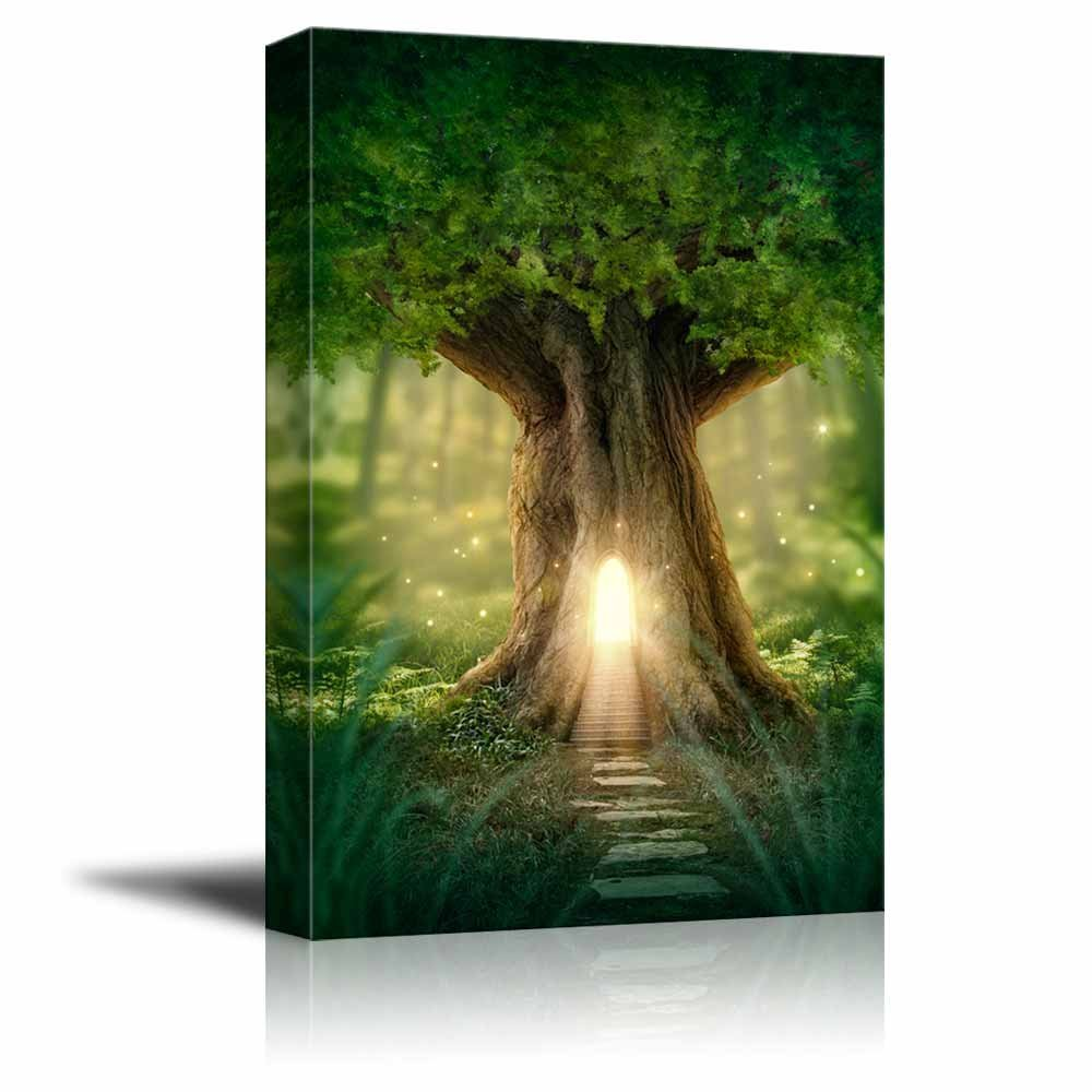 "Canvas Prints Wall Art - Fantasy Tree House with Light in the Forest | Modern Wall Decor - 12"" x 18"""