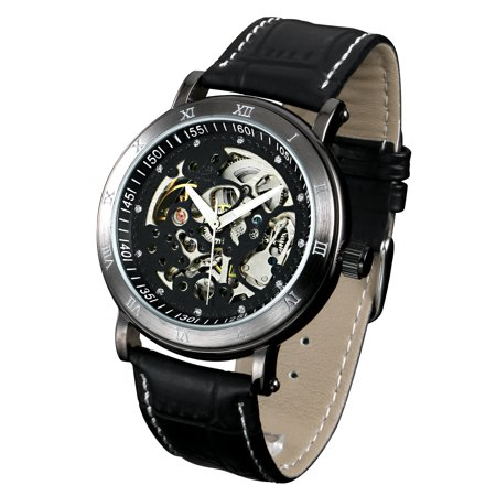 Mechanical Black Skeleton Dial (ESS Skeleton Mechanical Automatic Watch Black Case Black Dial Leather)