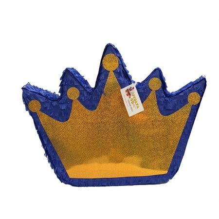 APINATA4U Royal Blue & Gold Crown Pinata Pull Strings Style