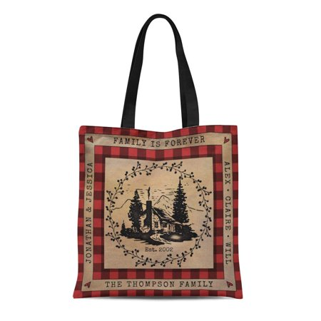 LADDKE Canvas Tote Bag Red Black Buffalo Check Rustic Cabin Plaid Country Lake Reusable Handbag Shoulder Grocery Shopping Bags
