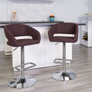 Flash Furniture Contemporary Brown Fabric Adjustable Height Barstool with Rounded Mid-Back and Chrome Base
