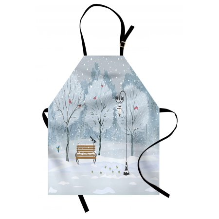 - Christmas Apron Snow Falling in the Park on a Cold Winter Day Birds Lanterns Xmas Season Picture, Unisex Kitchen Bib Apron with Adjustable Neck for Cooking Baking Gardening, Blue White, by Ambesonne
