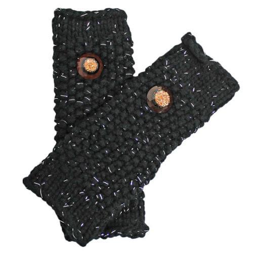 Luxury Divas Black Metallic Knit Fingerless Arm Warmer Gloves With Button