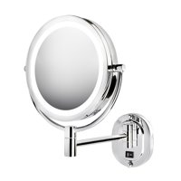 """Jerdon HL165CLD 5X-1X Magnification 8"""" LED Lighted Wall Mount Mirror, Chrome, Direct Wire"""