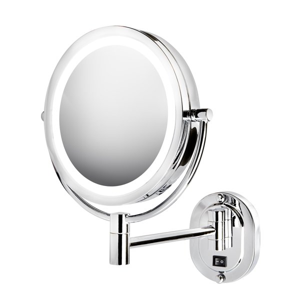 "Jerdon HL165CLD 5X-1X Magnification 8"" LED Lighted Wall Mount Mirror, Chrome, Direct Wire"
