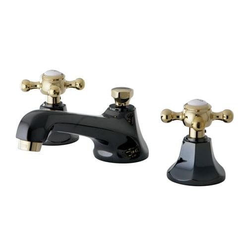 Kingston Brass NS4469BX Water Onyx Widespread Brass Bathroom Faucet - Free Pop-U