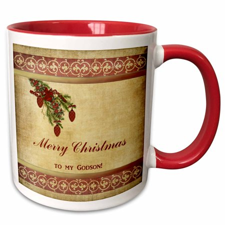 3dRose Christmas Tree Decorated Branch With Red Ornaments, Flowers, and Ribbons, To My Godson - Two Tone Red Mug, 11-ounce ()