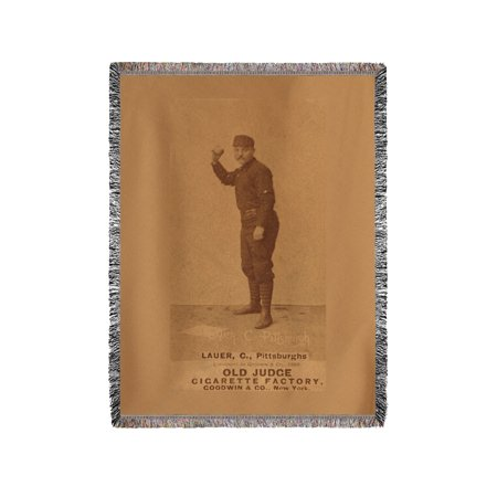 Pittsburgh Alleghenys - Chuck Lauer - Baseball Card (60x80 Woven Chenille Yarn