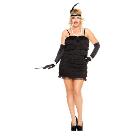 110f9bc95bf 1920 s Flapper Adult Costume Black - Plus Size 3X 4X - Walmart.com
