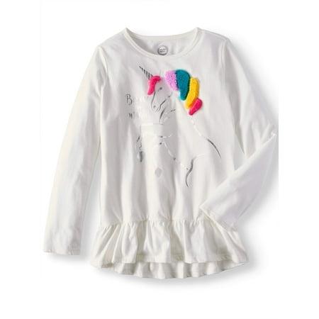Wonder Nation Girls' Embellished Animal Long Sleeve Ruffle Hem T-Shirt for $<!---->