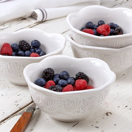 Antique Stoneware - overandback Stoneware Antique Texture bowls, White, set of 4