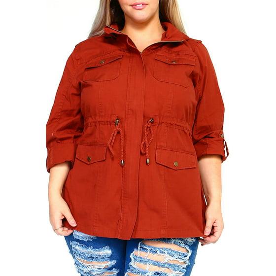 a41b0ede458  amz brand  - womens plus size fashion thick roll up canvas zip up parka  jacket w  hood kj805 -3xl-white - Walmart.com
