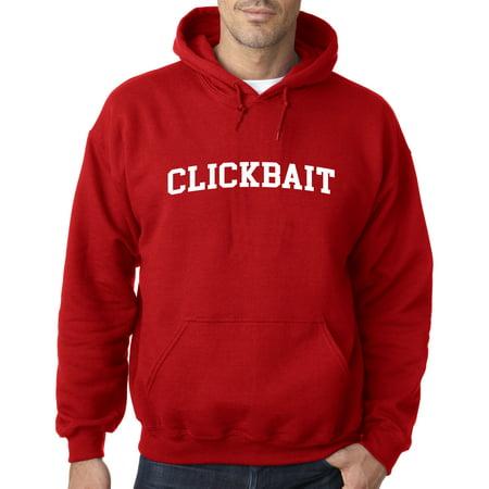 818 - Hoodie CLICKBAIT Youtube Hits Funny Humor Parody Sweatshirt Medium Red