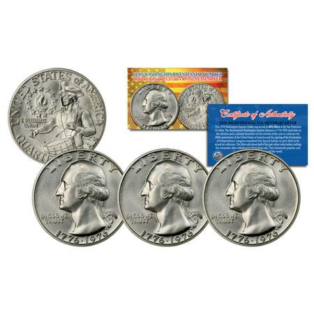 1976 S Mint Washington Bicentennial Quarter Gem BU Silver COA & CAPSULE - QTY 3
