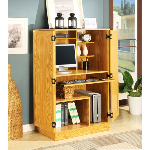 Planet 3 Hideaway Oak Computer Armoire