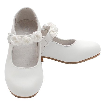 White Mary Jane Flower Accent Flat Dress Shoes Toddler Little Girl 7-4 - White Mary Jane Shoes