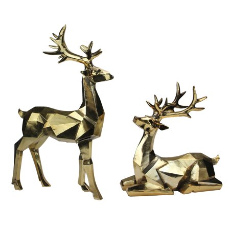 Set of 2 Shiny Golden Sitting and Standing Geometric Shaped Christmas Deer 18