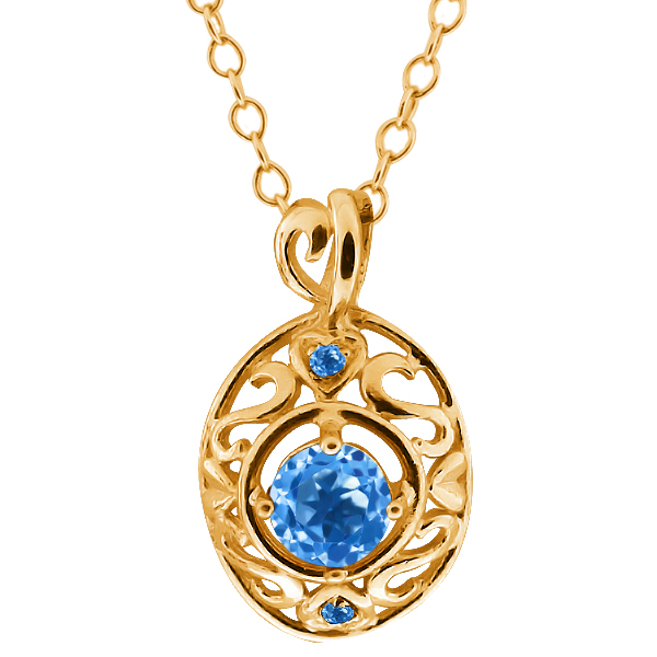 0.61 Ct Swiss Blue Topaz and Swiss Blue Simulated Topaz 14k Yellow Gold Pendant