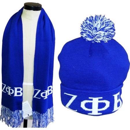 Zeta Phi Beta Ladies Knit Beanie Skull Cap   Scarf Set  Blue  - Walmart.com 35ce561ae