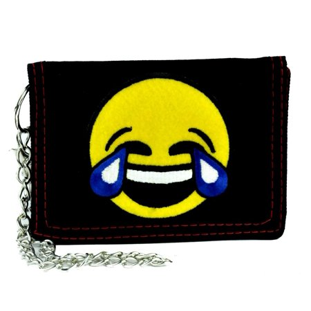 Cry Laughing Face Emoji Tri-fold Wallet with Chain Tears of Joy Alternative Clothing](Laughing With Tears Emoji)
