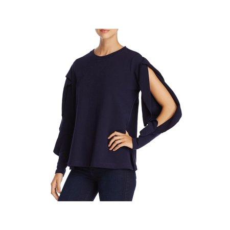 Vince Camuto Womens Ruffled Split Sleeves Sweatshirt Navy M Split Cotton Sweatshirt