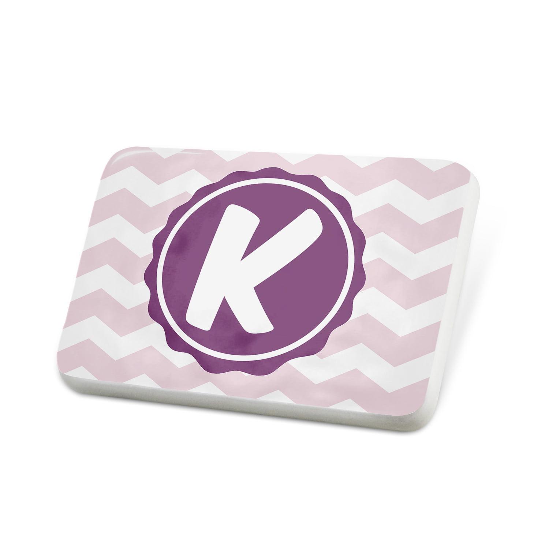 Porcelein Pin Monogram K Pink Purple Chevron Lapel Badge – NEONBLOND