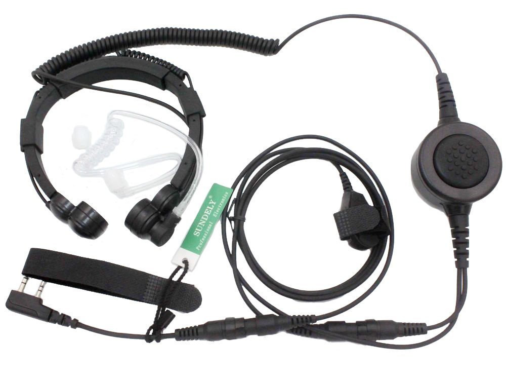 Sundely Military Grade Tactical Throat Mic Headsetearpiece With Big