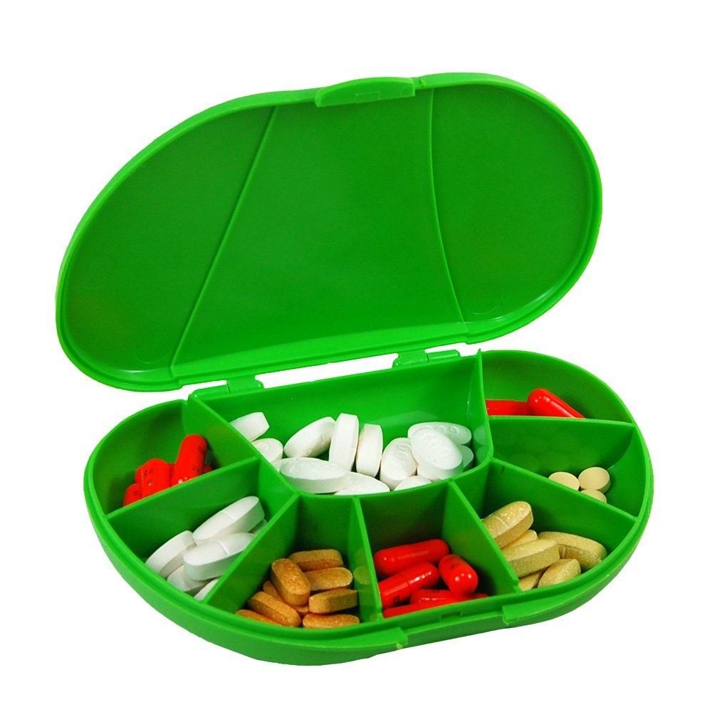 """Travel Size 8 Compartment Pill Box Holds up to 150 Pills (Actual Size: 6.0""""w X 4.0""""d X 1.2""""h) made in USA (BLACK), 8 Compartments to organize pills in pill box. By VitaCarry"""