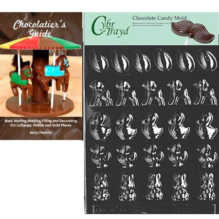 Cybrtrayd Five Piece Assortment Easter Chocolate Candy Mold with Our Chocolatier