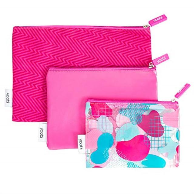 yoobi zipper pouch set   3-piece   fun pink ziggy fabric & printed pvc   for travel, school, office use