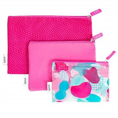 yoobi zipper pouch set | 3-piece | fun pink ziggy fabric & printed pvc | for travel, school, office use
