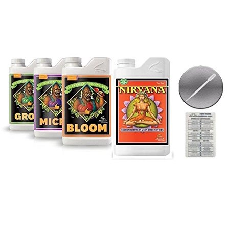 Advanced Nutrients Bloom, Grow, Micro 500mL & Nirvana Fertilizer 250mL Bundle w/ Conversion Chart & 3mL Pipette
