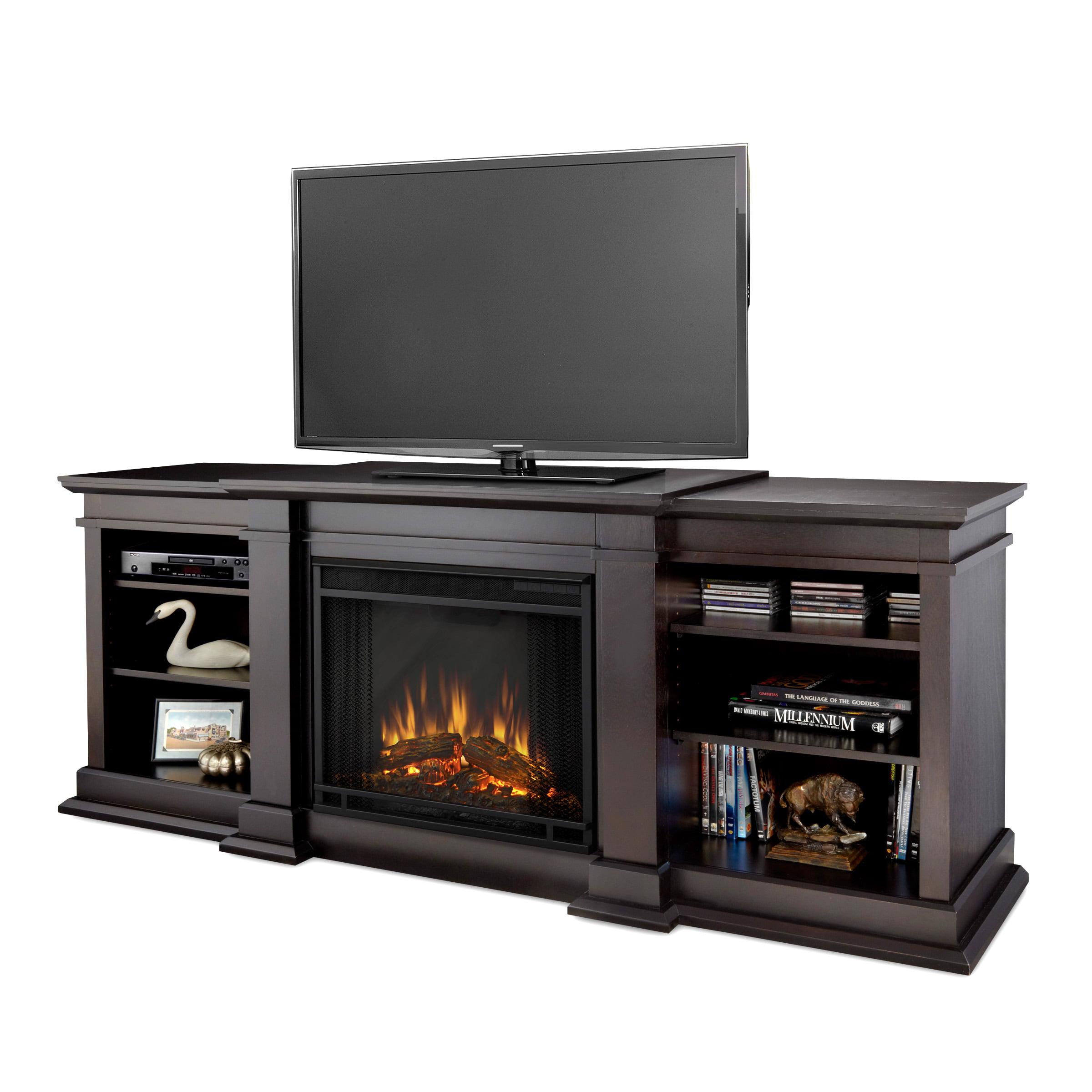 fresno electric fireplace in dark walnut by real flame walmart com rh walmart com
