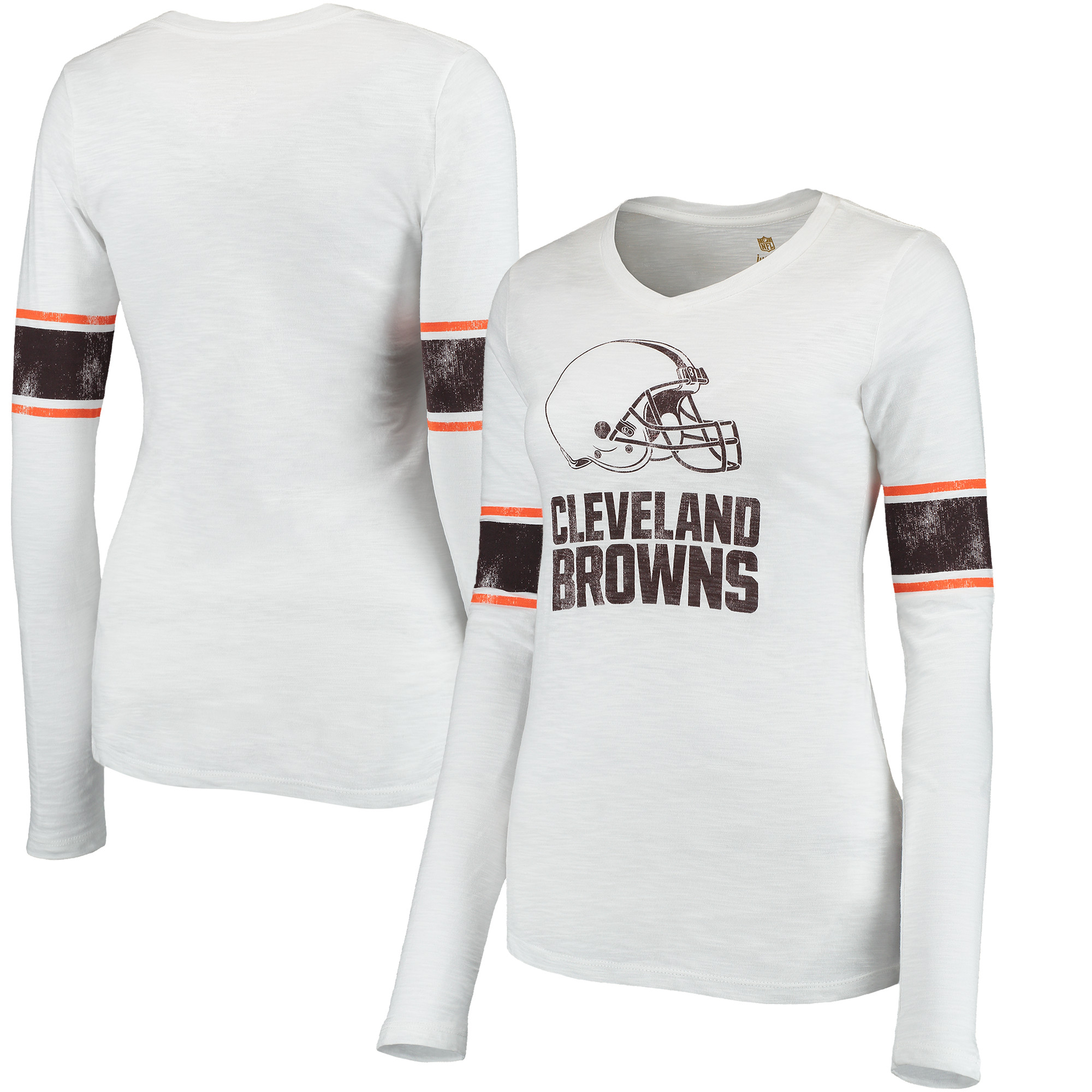 Cleveland Browns Juniors Team Leader V-Neck Long Sleeve T-Shirt - White