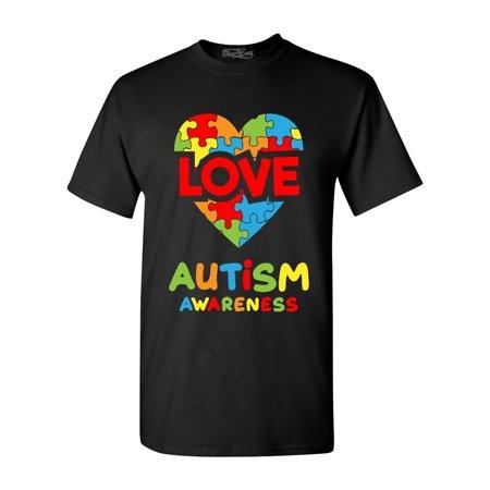Shop4Ever Men's Love Puzzle Heart Autism Awareness Graphic T-shirt