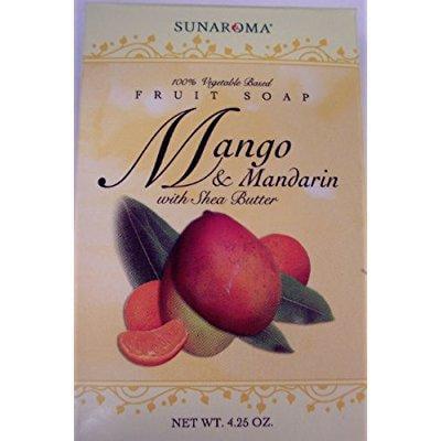 sunaroma - mango and mandarin soap with shra butter(1 bar 4.25oz)
