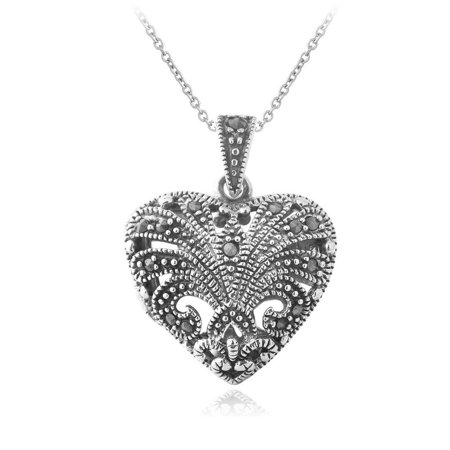 Sterling Silver Marcasite Heart Necklace (Marcasite Heart)