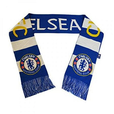 Chelsea Fc Woven Bar Scarf Reversible Blue - White -Yellow New Season