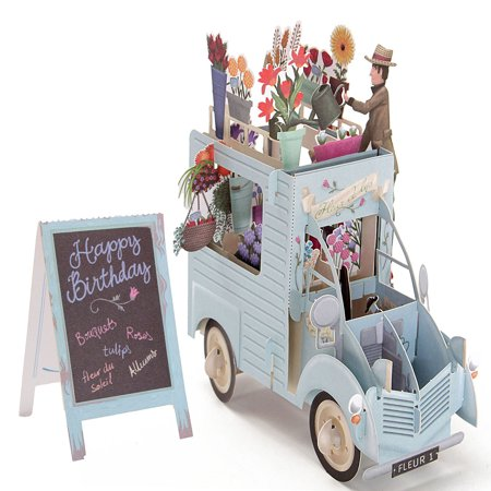 Meigar 3D PopUp Greeting Cards Car of Flowers Happy Anniversary Valentine Birthday Easter Invitations Festivals Gifts & Party Supplies Greeting (Best Card For Happy Birthday)