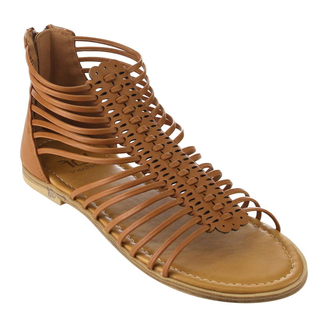 Womens sandals walmart - Betani Fh64 Women S Strappy Gladiator Summer Back Zip Flat Sandals Walmart Com