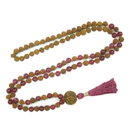 Mogul Meditation Gift Idea- Pink Jade Rudraksha Prayer Beads Yoga Japa Mala 108+1