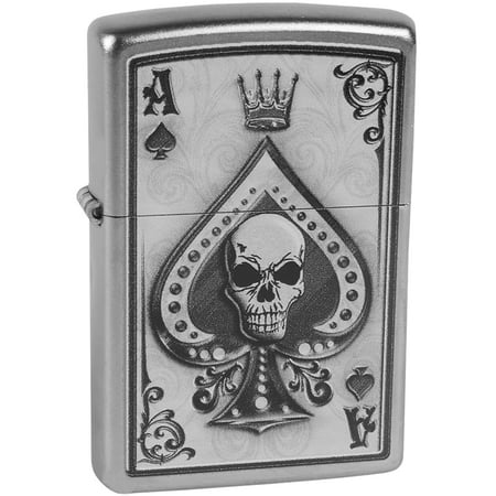Zippo Ace Skull Satin Chrome Windproof Pocket Lighter (Skull Zippo)