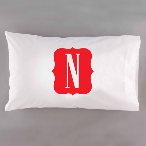 Personalized Framed Initial Pillowcase, Navy