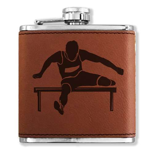 Faux Leather Flask - Hurdles Man - Dark Brown