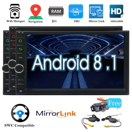 2019 Android 8.1 inch HD Car Stereo System Double Din Head Unit in Dasg GPS Navigation FM/AM Radio Receiver 2 Din Video Player RAM:2GB Support Mirrorlink Wifi USB SD OBD2 (Best Double Din Head Unit For Android)