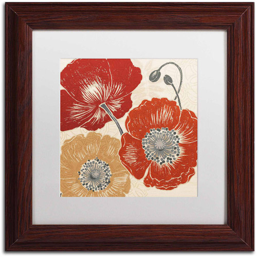 "Trademark Fine Art ""A Poppy's Touch II"" Canvas Art by Daphne Brissonnet, White Matte, Wood Frame"