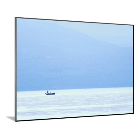Peaceful View of a Small Boat in the Ocean at Dawn in Israel Wood Mounted Print Wall Art