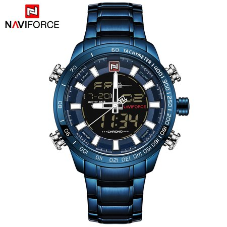 NAVIFORCE Luxury Dual Display Digital Quartz Men Watch Stainless Steel Luminous Sports Watch Chronograph Water-Proof Man Clock + Gift (Display Digital Watch)